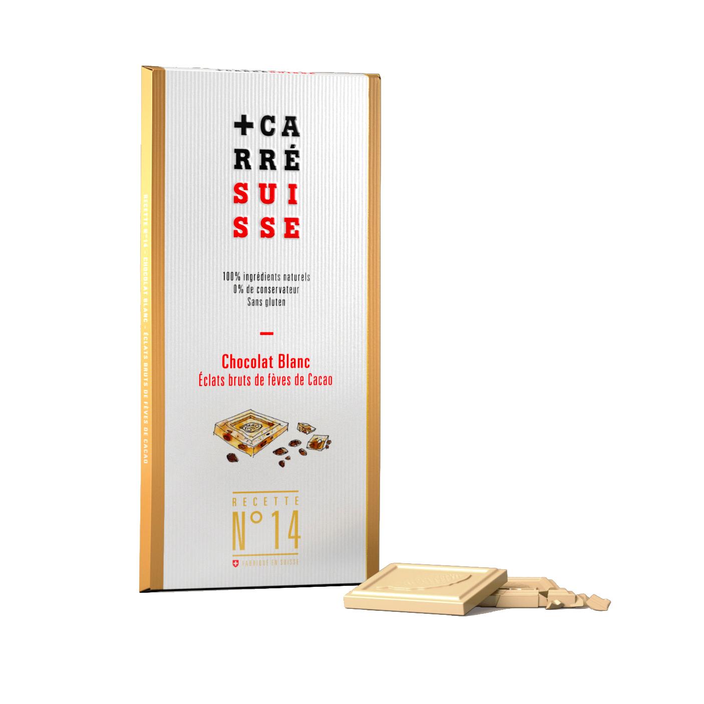 Chocolat blanc aux éclats brut de fèves de cacao BIO, Carré Suisse (100 g)