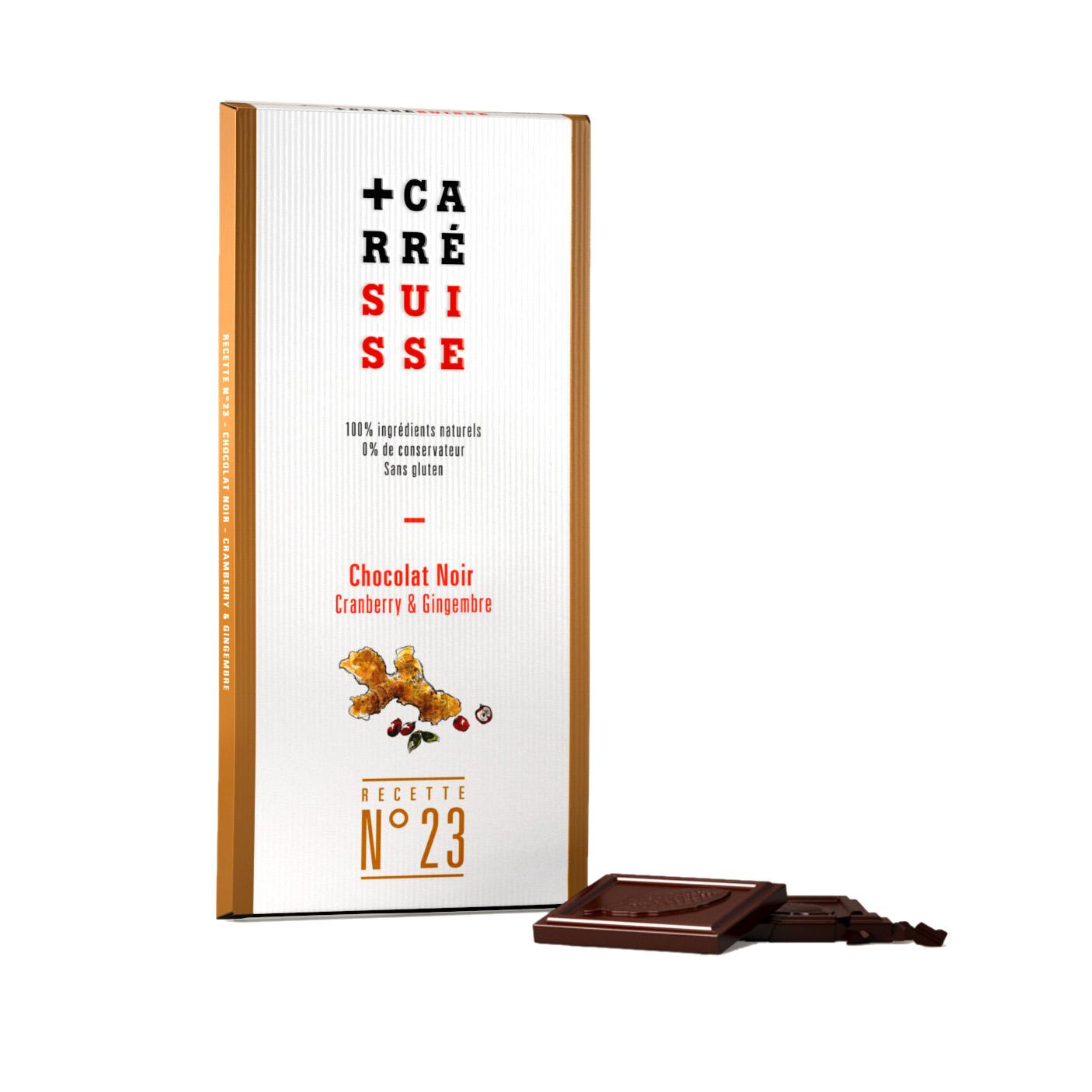 Chocolat noir 71%, cranberry & gingembre BIO, Carré Suisse (100 g)
