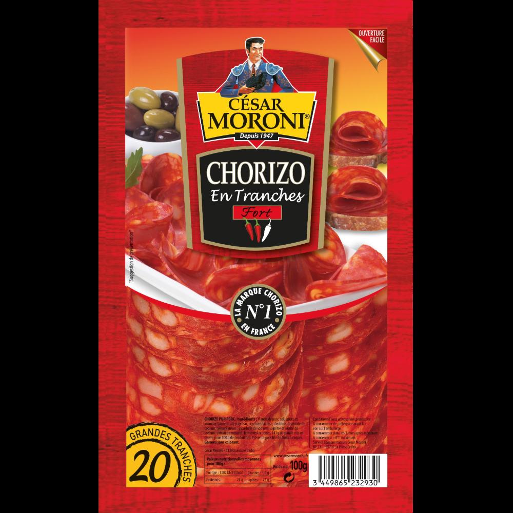 Chorizo fort en tranche, Moroni (x 20, 100 g)