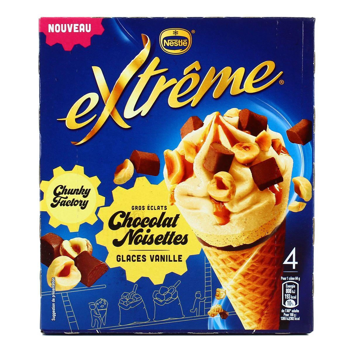 Cône Chuncky Factory Vanille Noisette, Extreme (x 4)