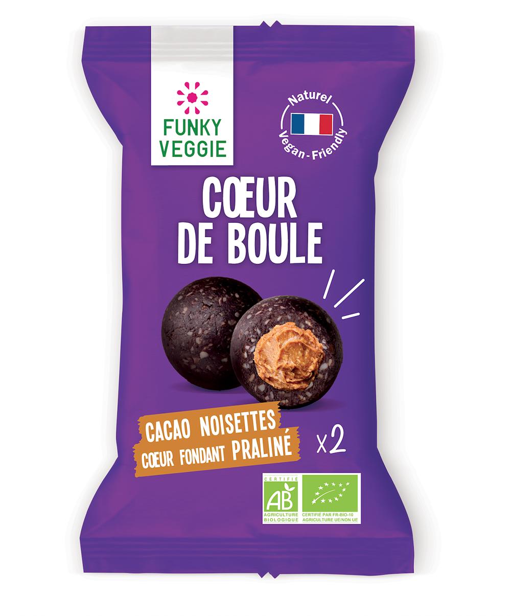Coeur de boule Cacao Noisette coeur Praliné BIO, Funky Veggie (x 2, 44 g)