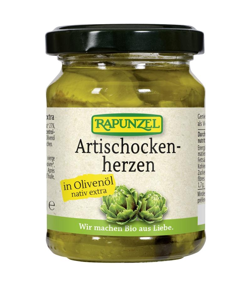 Coeur d'artichauts à l'huile d'olive BIO, Rapunzel (120 g)