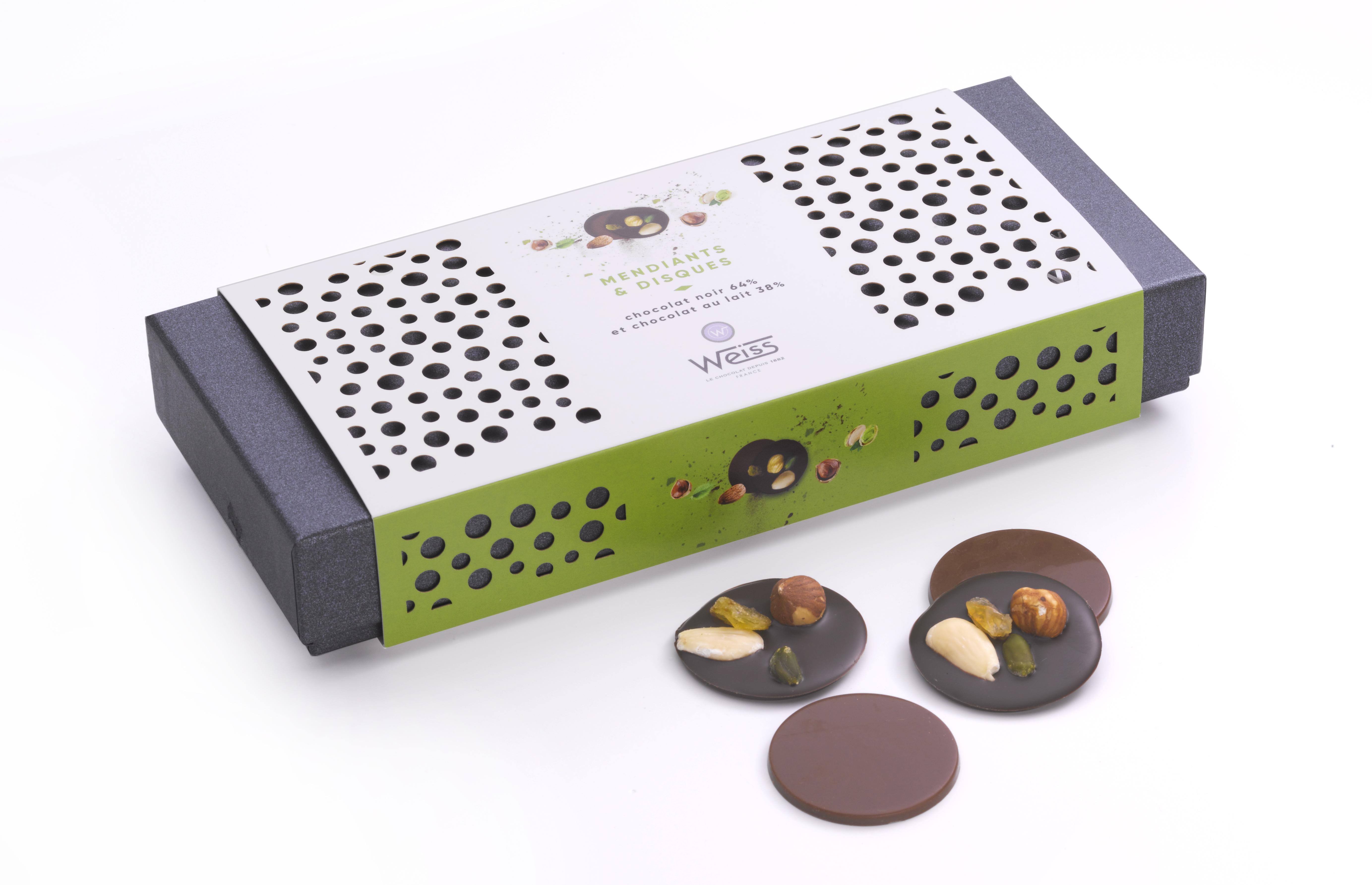 Coffret Mendiants chocolat noir et Disques chocolat au lait, Weiss (220 g)