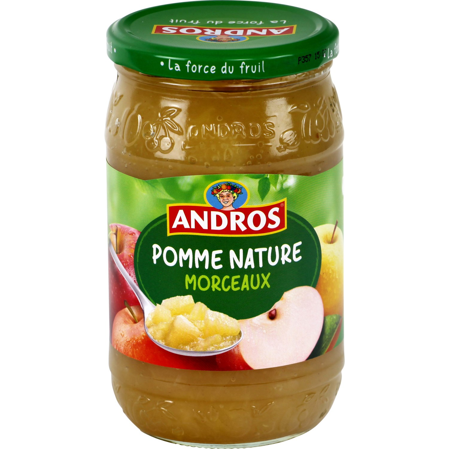 Compote pomme nature morceaux, Andros (740 g)