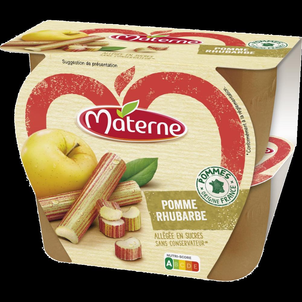 Compote allégée pomme rhubarbe, Materne (4 x 100 g)