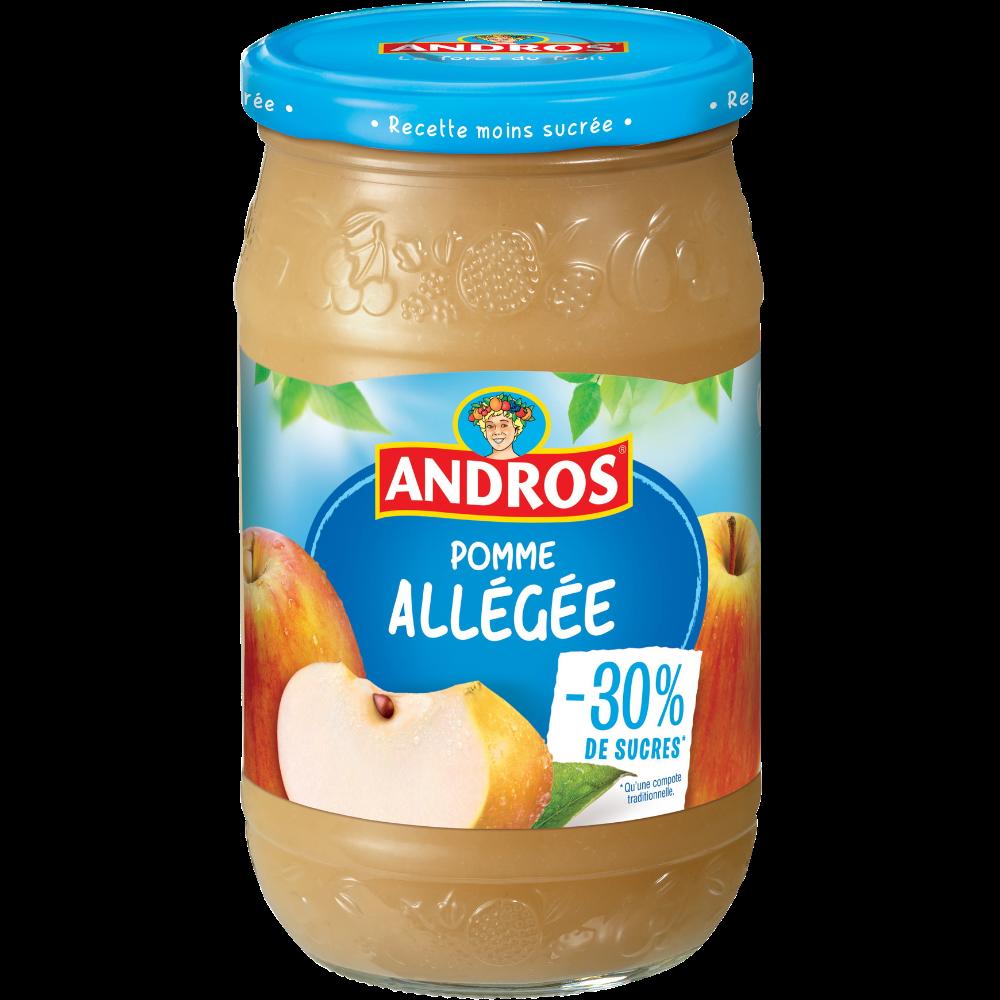 Compote de pomme allégée en sucre, Andros (730 g)