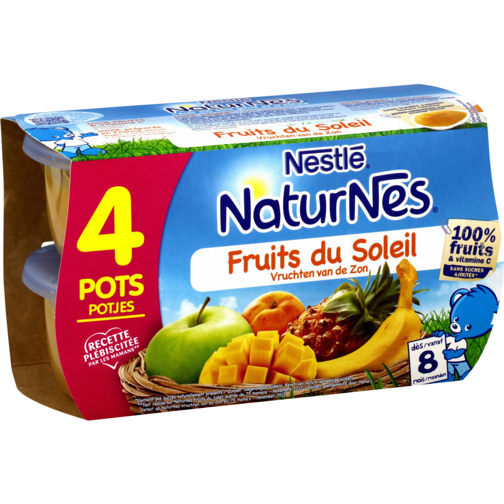 Fruits du soleil - dès 8 mois, Naturnes Nestlé (4 x 130 g)
