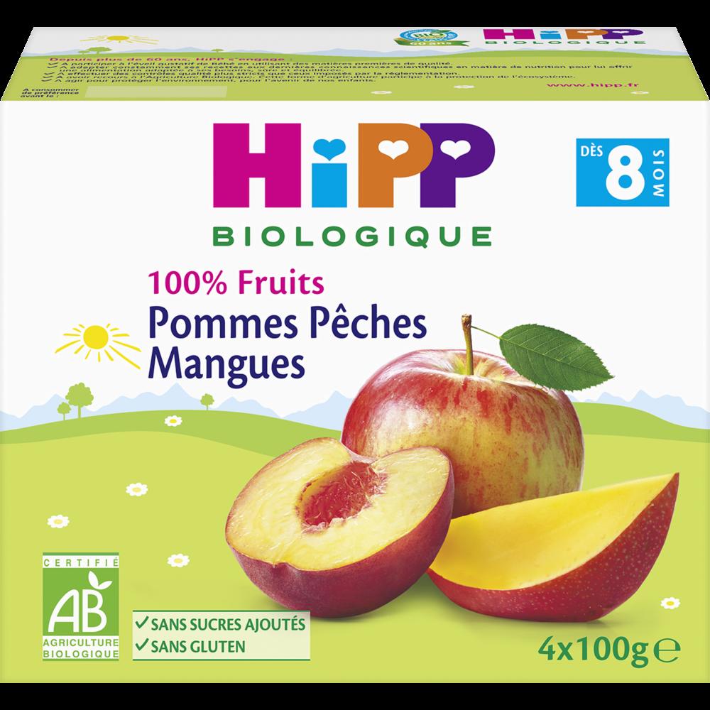 100% fruits pomme, pêche, mangue BIO - dès 8 mois, Hipp (4 x 100 g)
