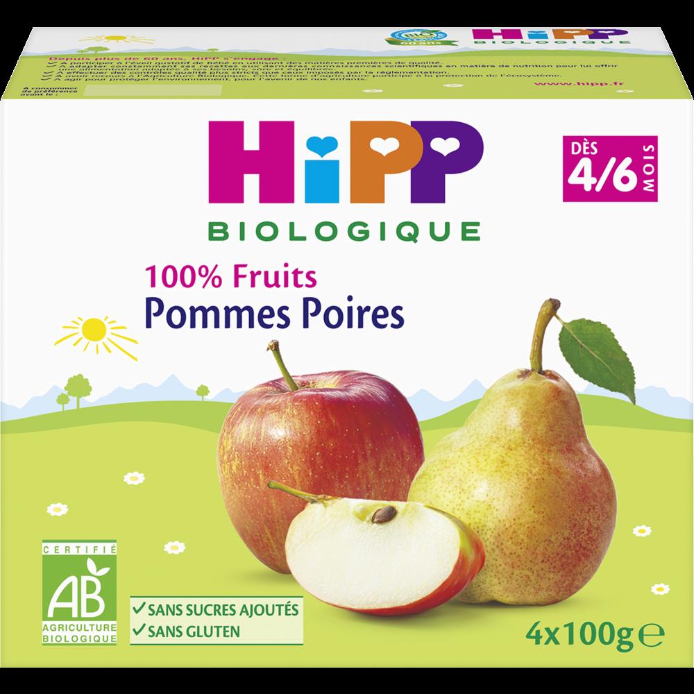 100% Fruits pommes, poires BIO - dès 4 mois, Hipp (4 x 100 g)