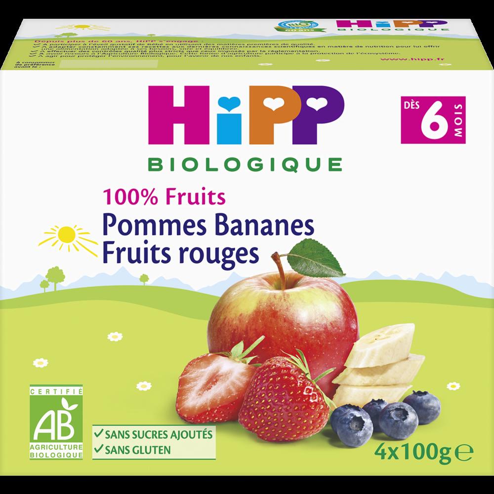 100% fruits pommes, bananes, fruits rouges BIO - dès 6 mois, Hipp (4 x 100 g)