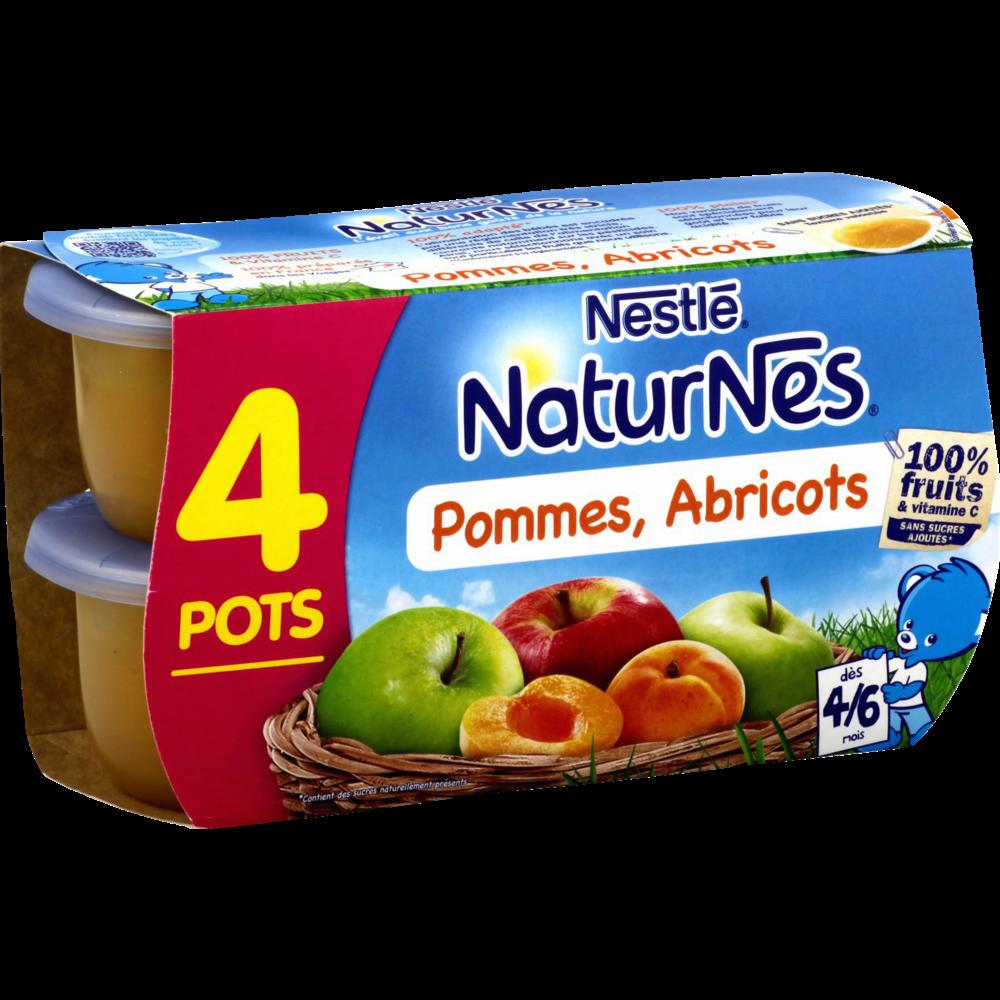 Pommes, abricots 100% fruits - dès 4/6 mois, Naturnes Nestlé (4 x 130 g)