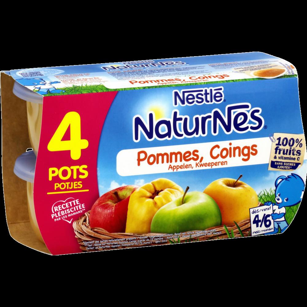 Pommes, coings 100% fruits - dès 4/6 mois, Naturnes Nestlé (4 x 130 g)