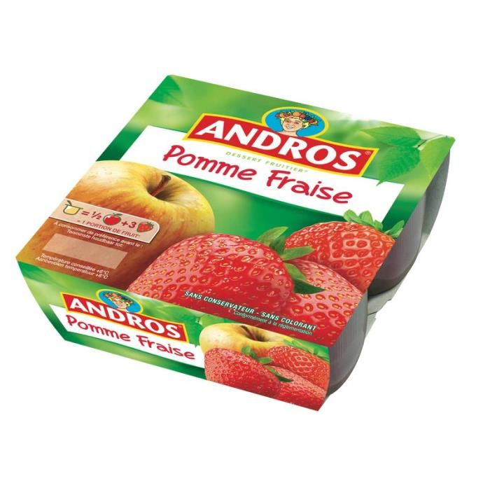 Compote pomme/fraise, Andros (4 x 100 g)