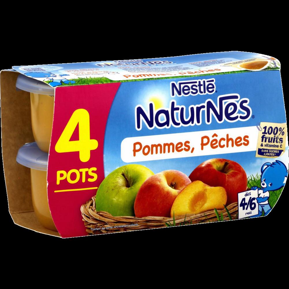 Pommes, pêches 100% fruits - dès 4/6 mois, Naturnes Nestlé (4 x 130 g)