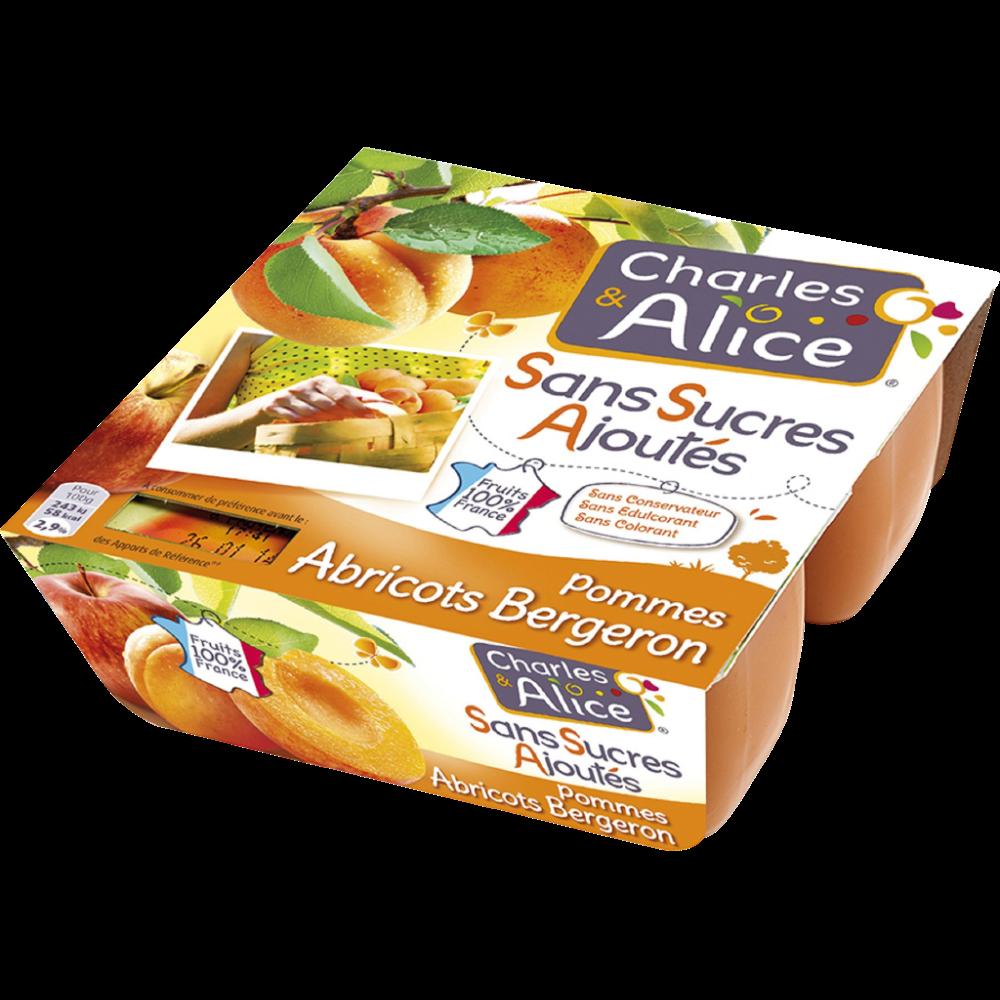 Compote pomme abricots sans sucres ajoutés, Charles & Alice (4 x 100 g)