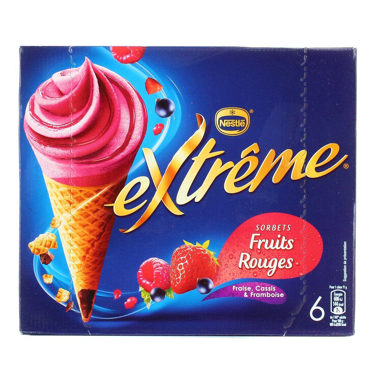 Cône sorbet framboise, cassis, fraise, Extreme (x 6)