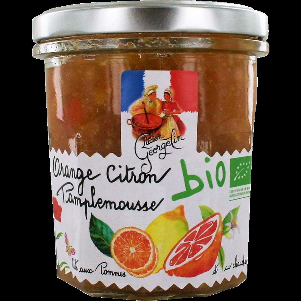 Confiture oranges, citron et pamplemousse recette au chaudron BIO, Lucien Georgelin (320 g)