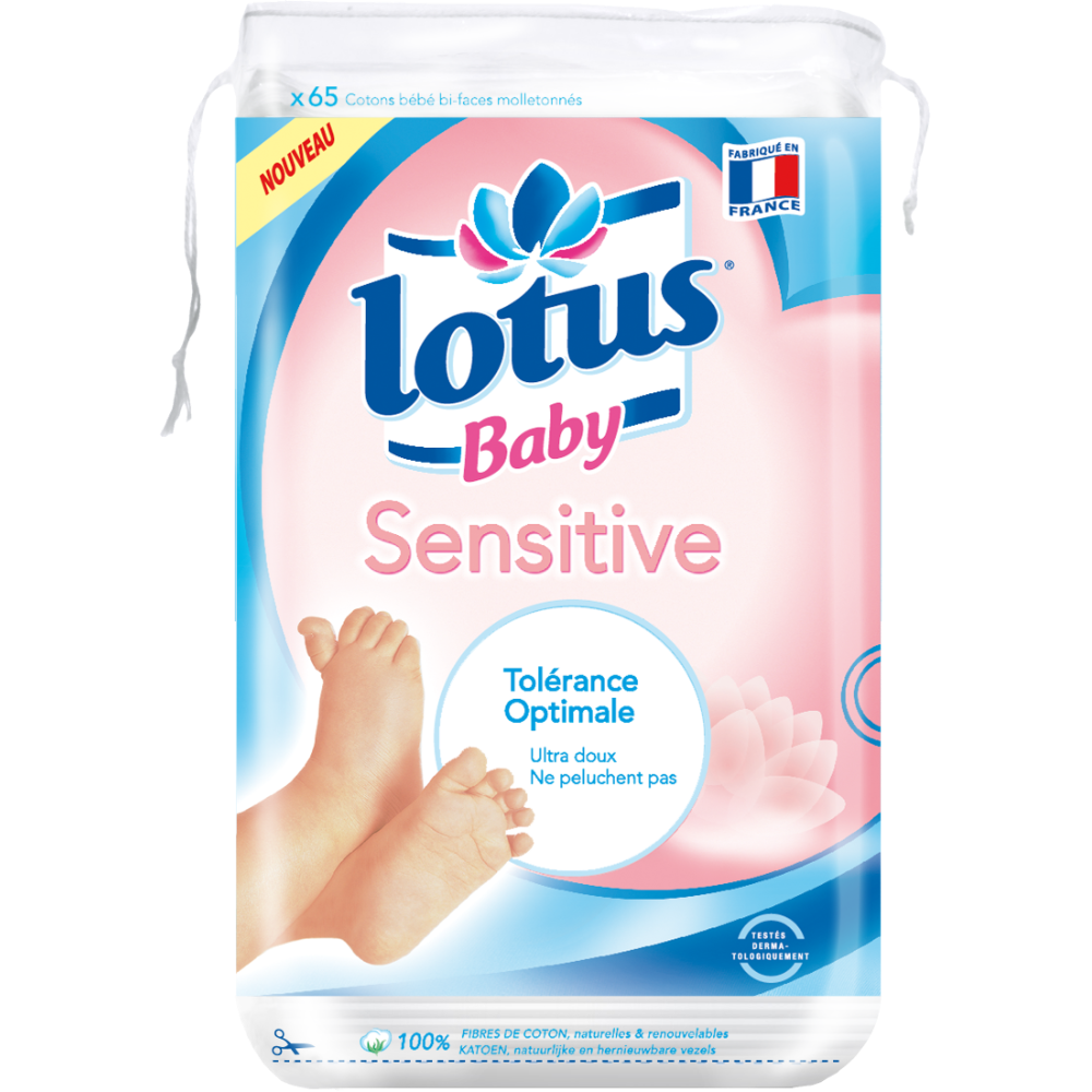 Coton carré bébé sensitive, Lotus Baby (x 65)