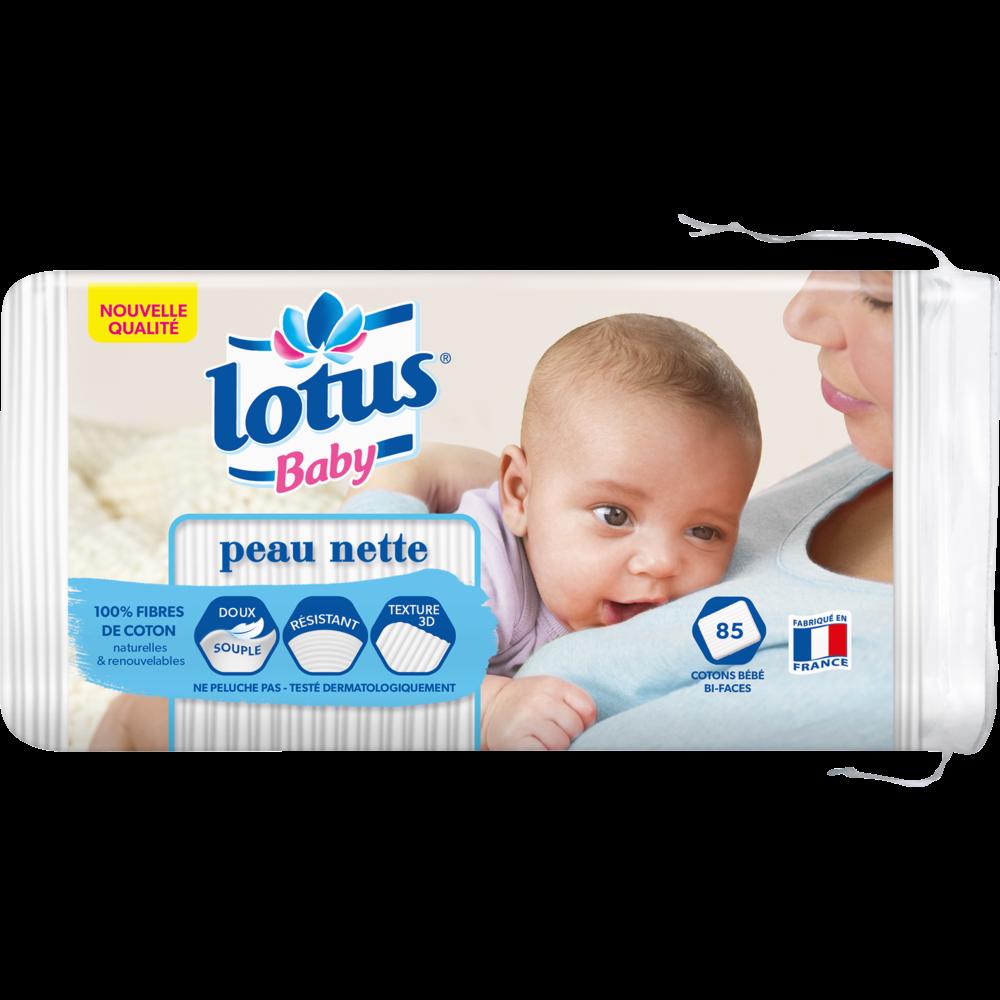 Coton carré peau nette bi-face, Lotus baby (x 85)