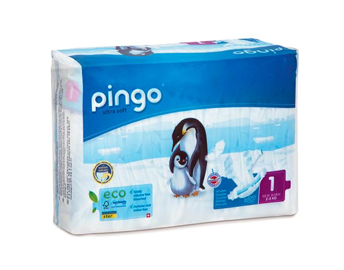 Couches écologiques T1 newborn / 2-5 kg, Pingo (27 couches)