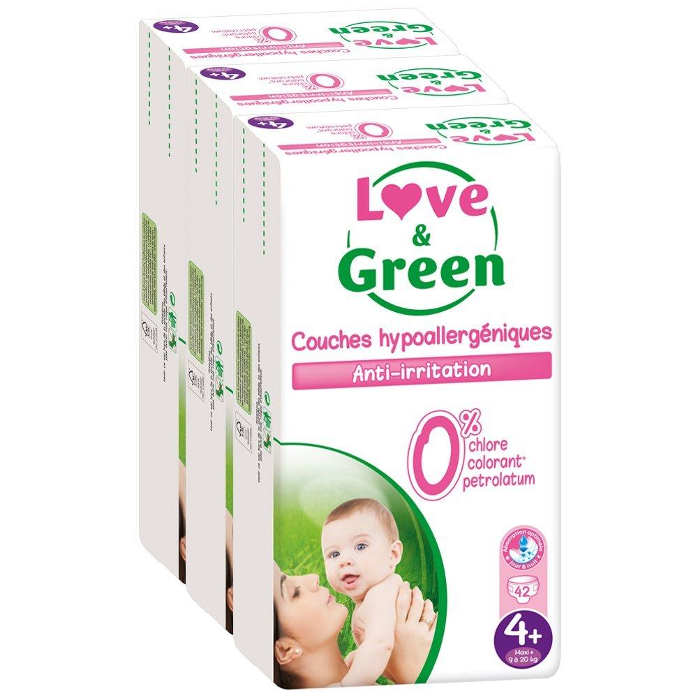 Couches Bébé Hypoallergéniques 0% Love & Green - Taille 4+/9-20 kg (x 42 couches)