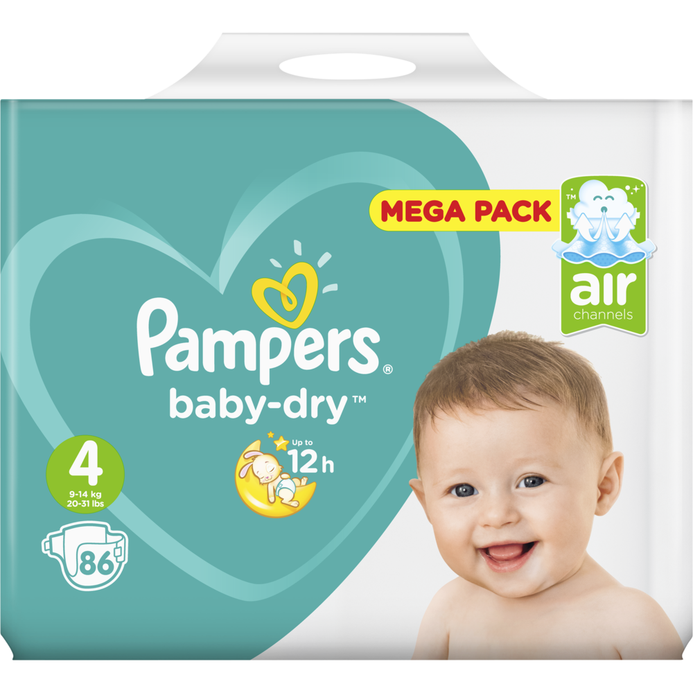 Couches Baby Dry Taille 4 / 9-14 kg, Pampers (x 86, Méga Pack)