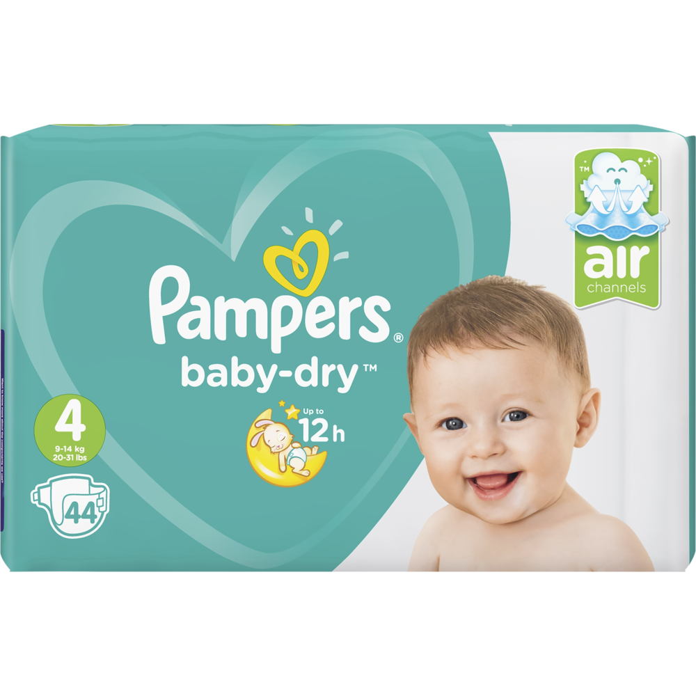 Couches Baby Dry  maxi T4 / 9 à 14 kg, Pampers (x 44)