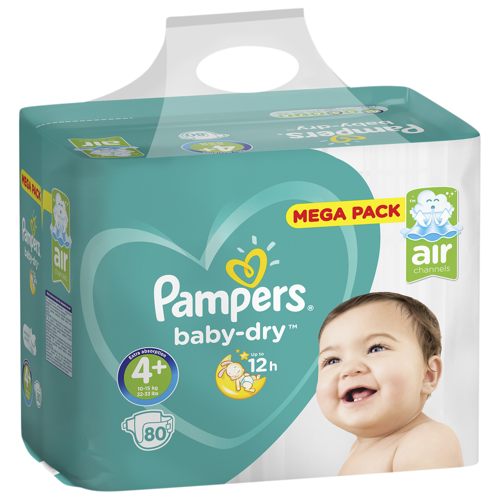 Couches Baby Dry T4+/ 10-15 kg, Pampers (x 80, Méga Pack)