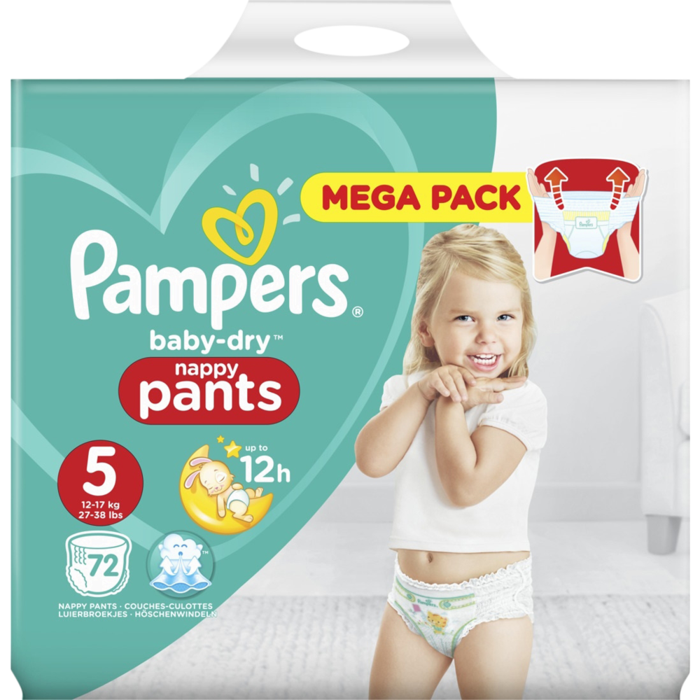 Couches/culotte Baby Dry pants T5 / 11-16 kg, Pampers (x 72)