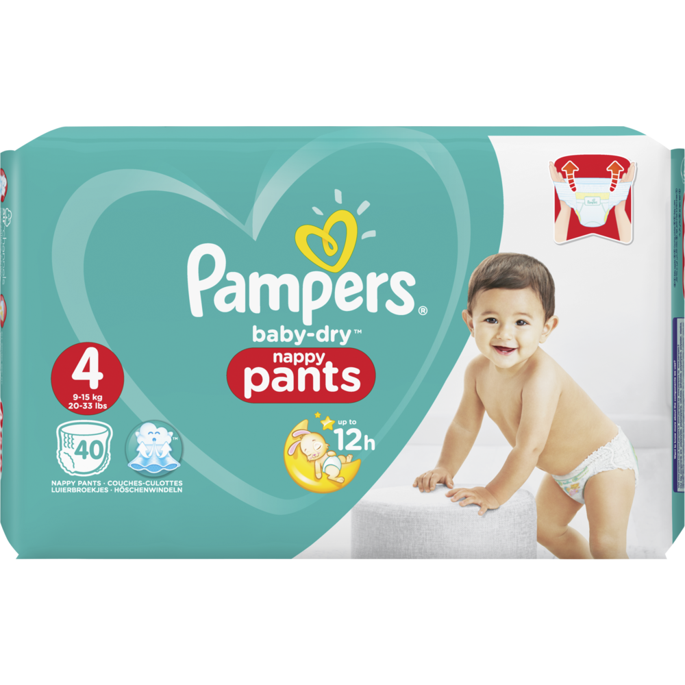 Couches Baby Dry pants Taille 4 / 9-14 kg, Pampers (x 40)