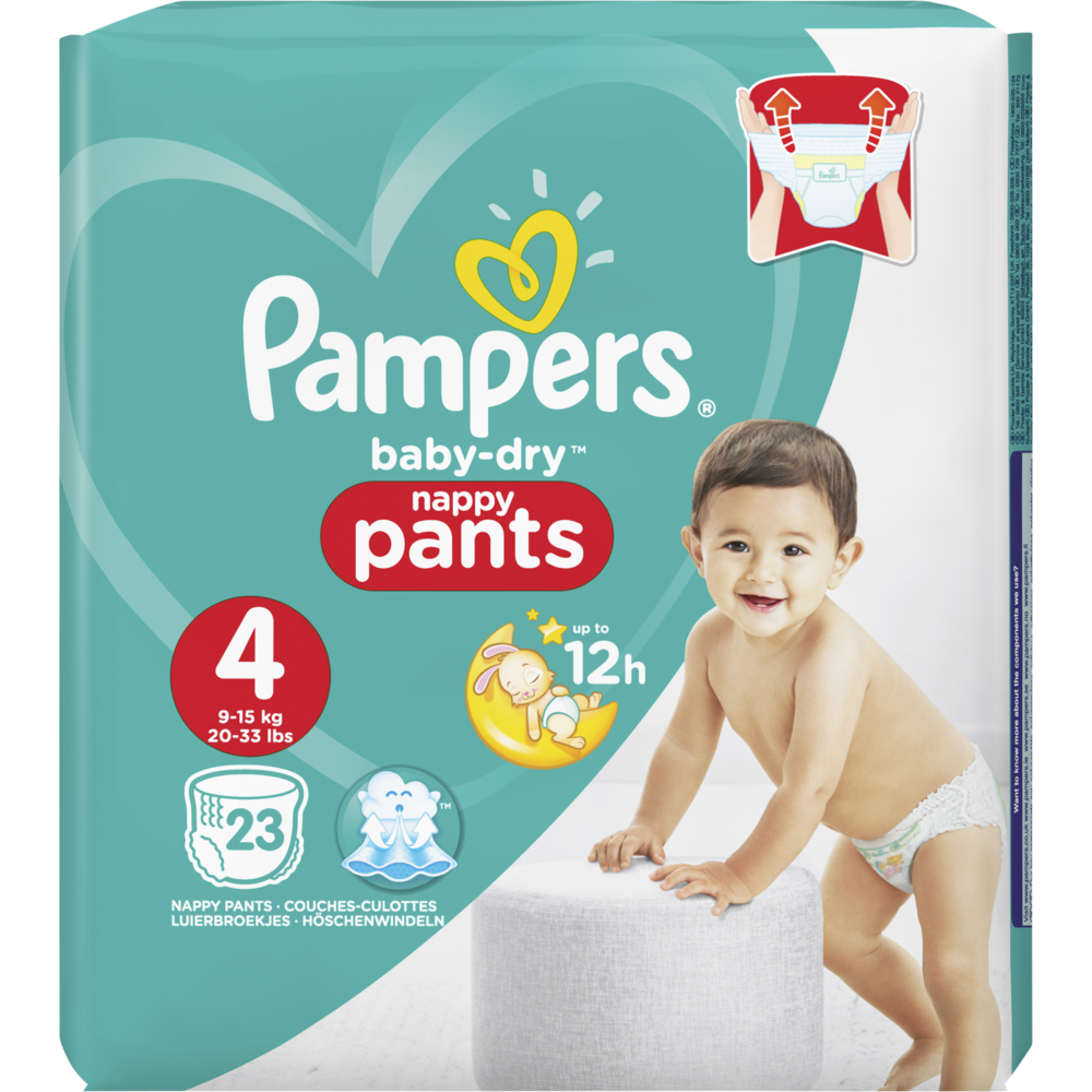 Couches Baby Dry pants T4 / 9 à 14 kg, Pampers (x 23)