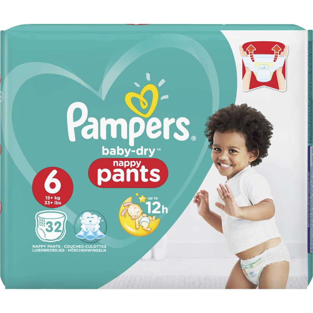 Couches Baby Dry pants T6 / 13-18 kg, Pampers (x 32)