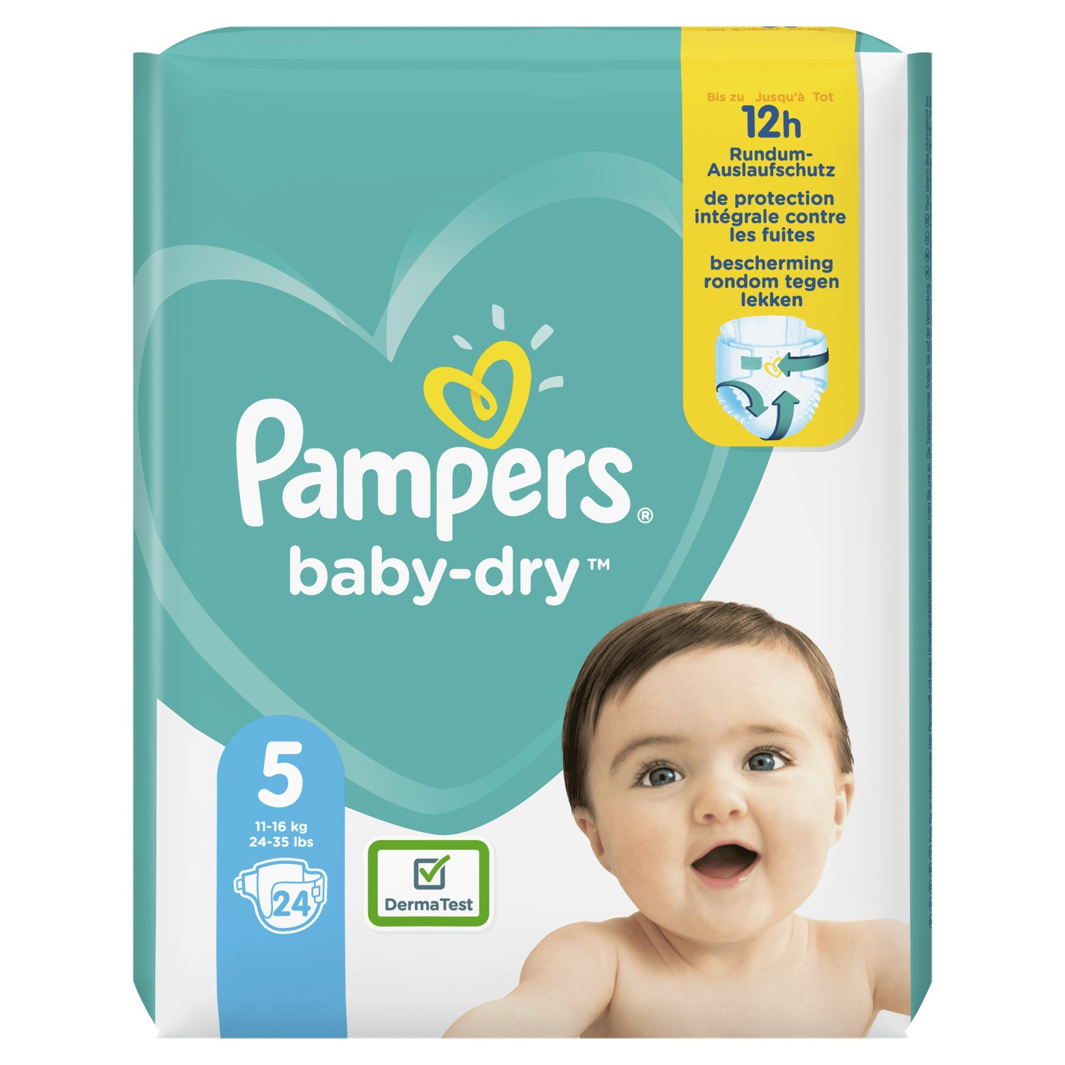 Couches Baby Dry T5 / 11-16 kg, Pampers (x 24)