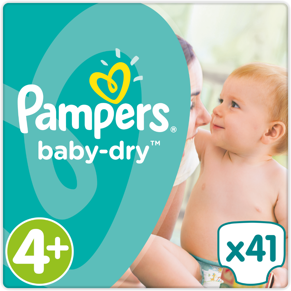 Couches Baby Dry maxi T4+ / 10-15 kg, Pampers (x 41)