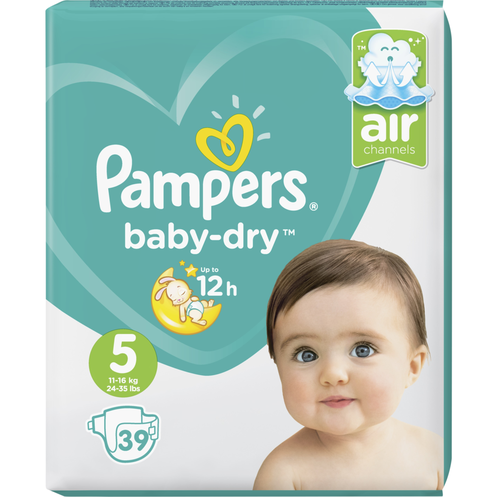 Couches Baby Dry junior T5 / 11-16 kg, Pampers (x 39)