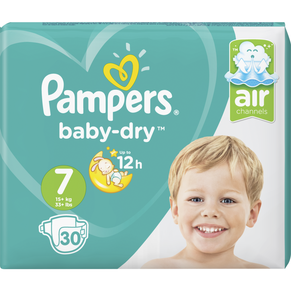 Couches Baby Dry T7 / 15 kg, Pampers (x 30)