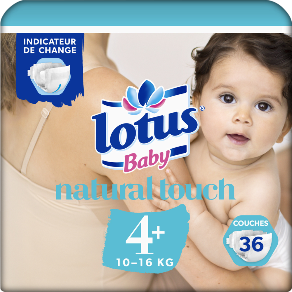 Couches taille 4+ - 10 à 16 kg, Lotus Baby (x 36)