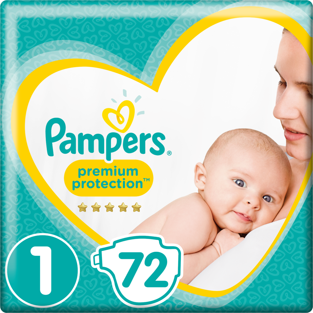 Couches new baby premium protection T1 / 3-4 kg (x 72)
