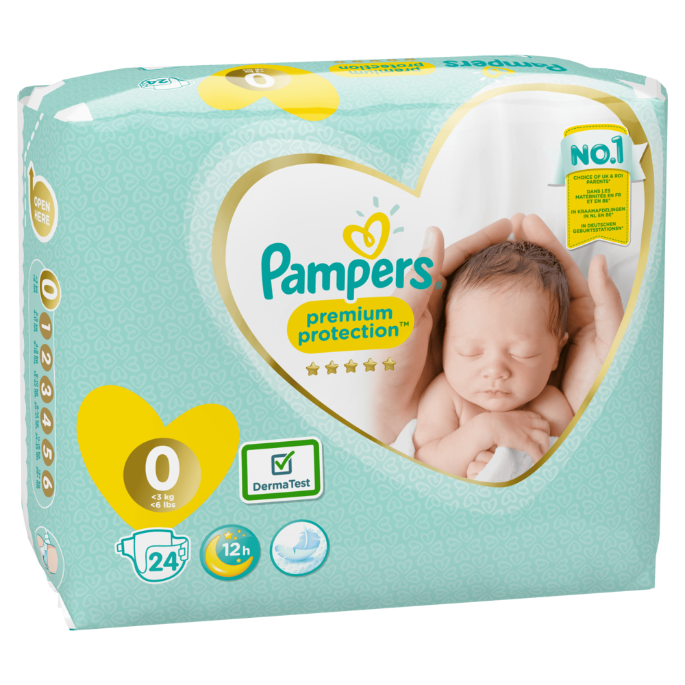 Couches New Baby premium protection T0 /  2-3 kg, Pampers (x 24)