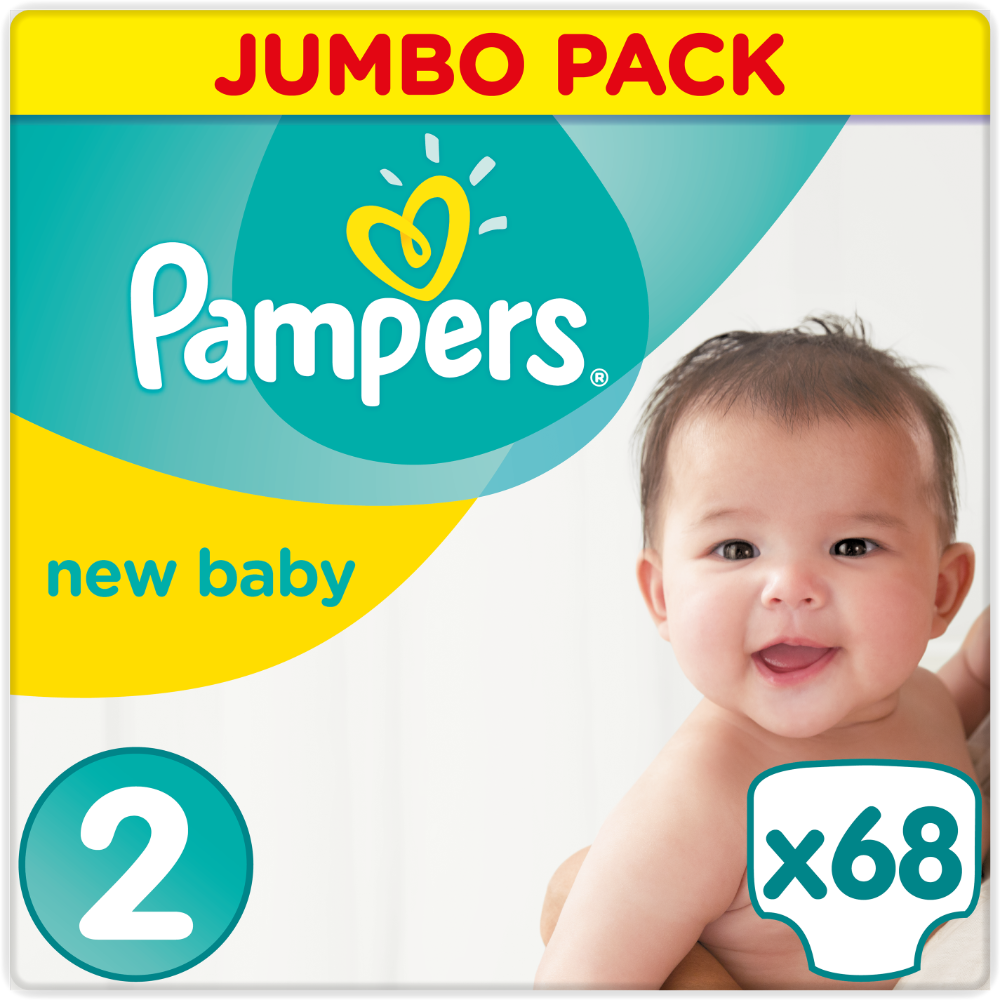 Couches New Baby premium protection T2 / 4-8 kg, Pampers (x 68)