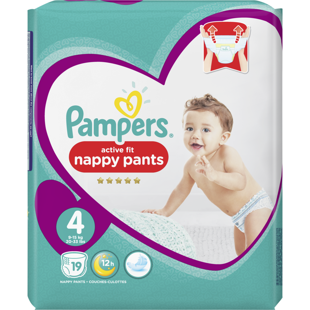 Couches Premium Protection Taille 4 / 9-14kg Active fit pants, Pampers (x 19)