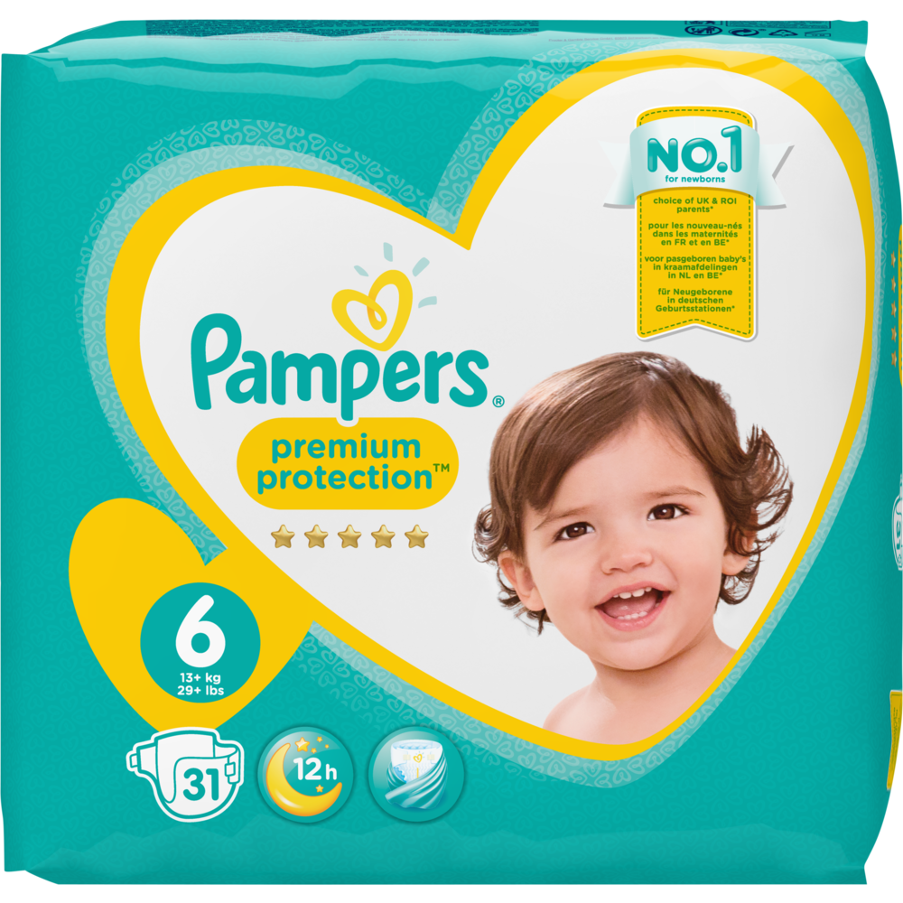 Couches premium protection T6 / 13-18 kg, Pampers (x 31)