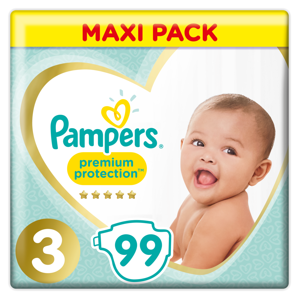 Couches premium protection T3 / 6-10 kg, Pampers (x 99)