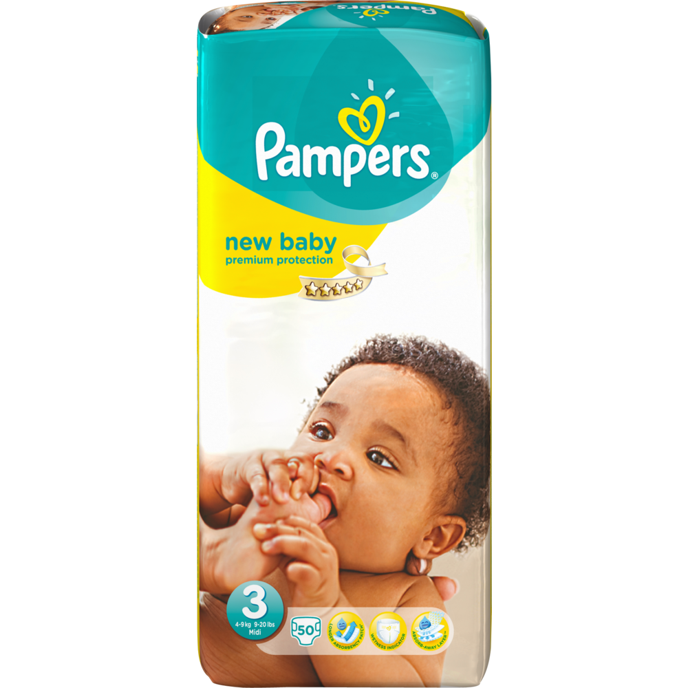 Couches New Baby premium protection T3 / 6-10 kg, Pampers (x 50)