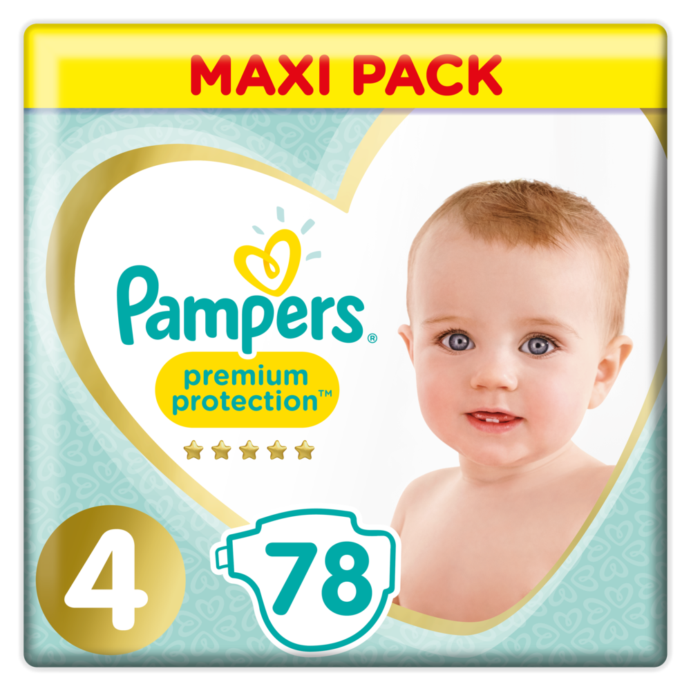 Couches Premium Protection Taille 4 / 9-14k g, Pampers (4 x 78)
