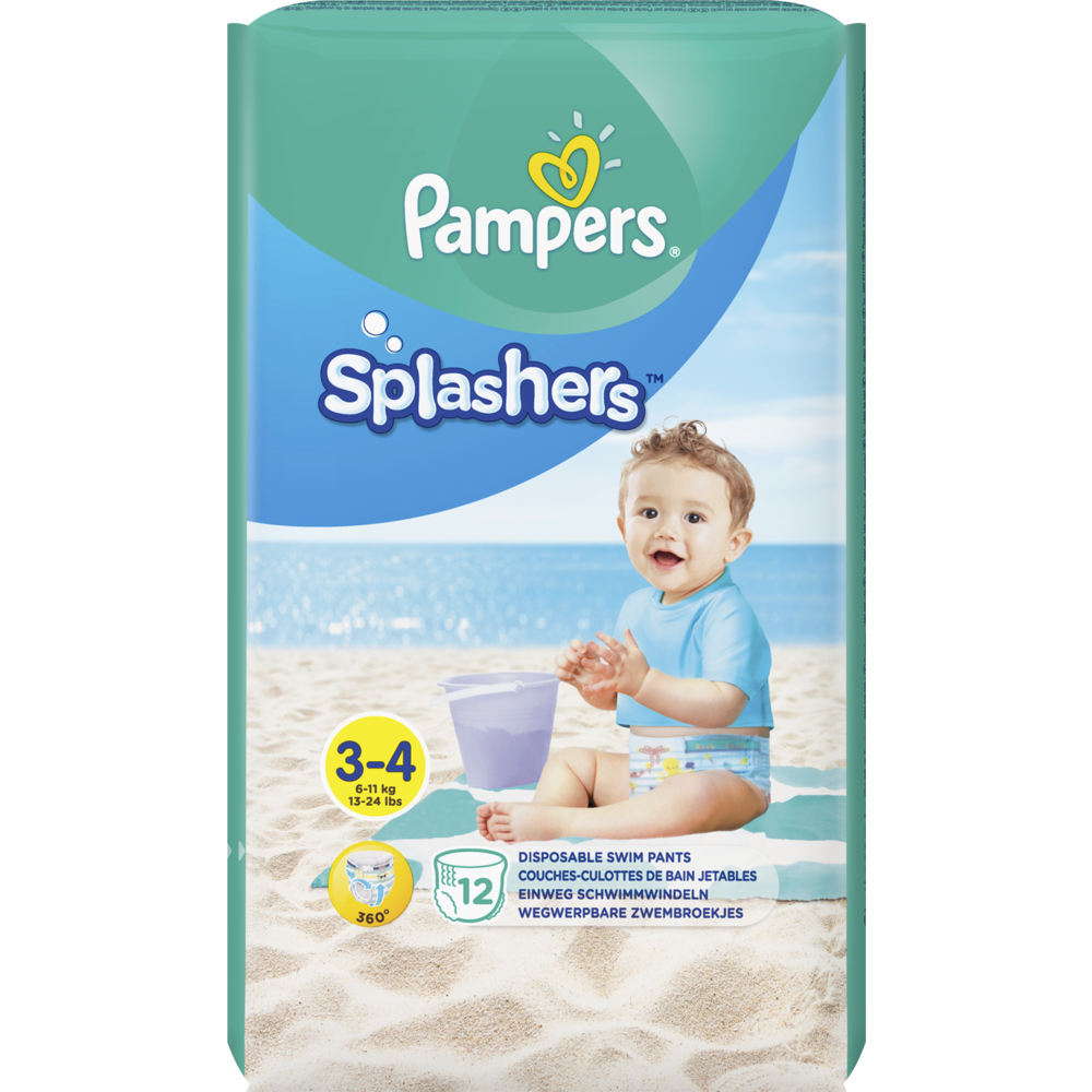 Couches Splashers T3 / 6-10 kg, Pampers (x 12)