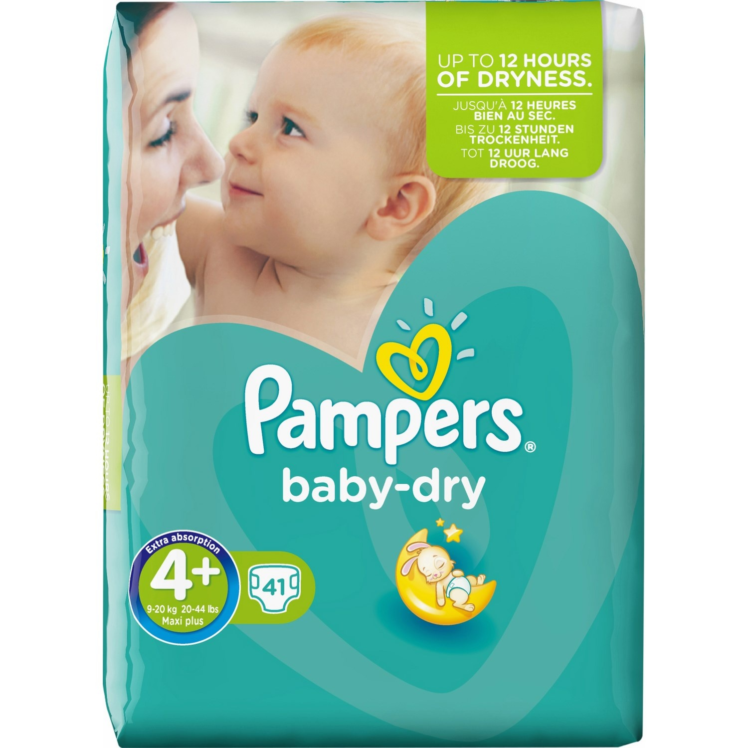Couches Baby Dry Taille 4+ / 9-20 kg, Pampers (x 24)
