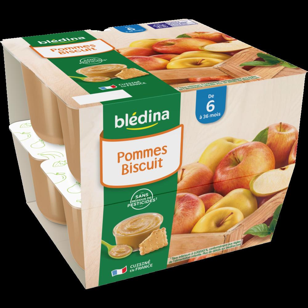 Coupelles 100% fruits pommes, biscuit - dès 6 mois, Blédina (8 x 100 g)