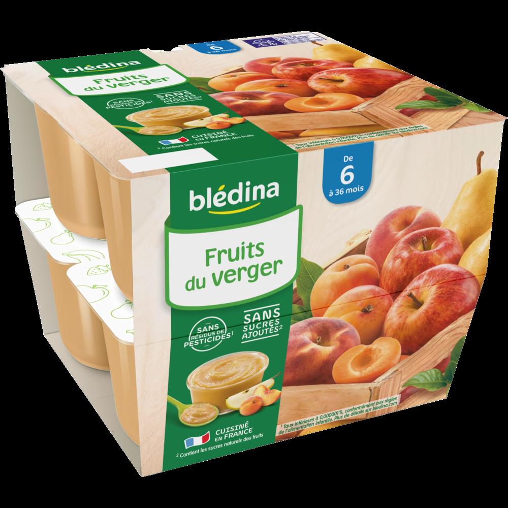 Coupelles 100% fruits du verger - dès 6 mois, Blédina (8 x 100 g)