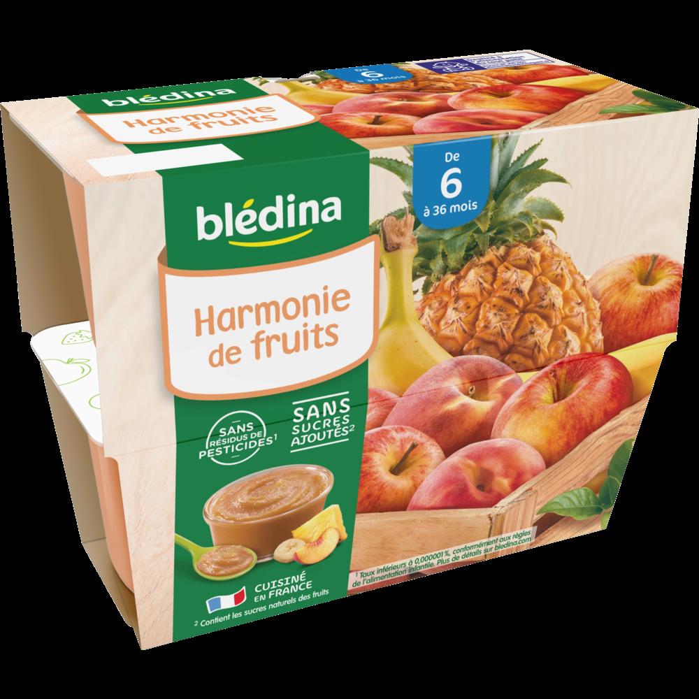 Coupelles 100% fruits harmonie de fruits - dès 6 mois, Blédina (4 x 100 g)